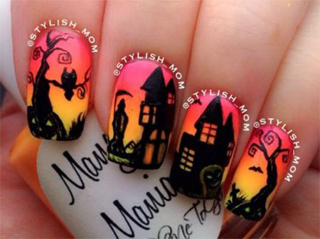 20-Amazing-Halloween-Nail-Art-Designs-Ideas-Trends- - 20 + Amazing Halloween Nail Art Designs, Ideas, Trends & Stickers