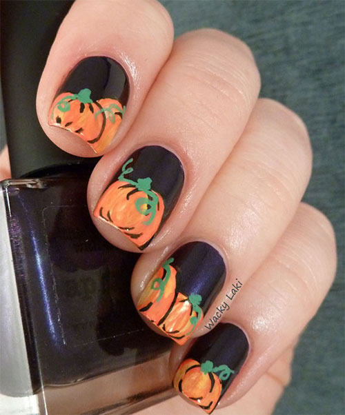 The Ten Scariest Nail Art Designs For Halloween: 20 + Halloween Pumpkin Nail Art Designs, Ideas, Trends