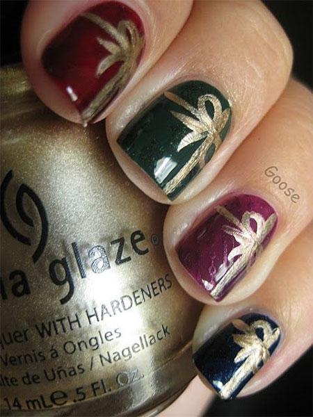 12 Easy Christmas Present Nail Art Designs Ideas