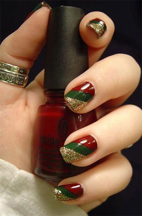 15+ Red, Green, Gold Christmas Nail Art Designs, Ideas, Trends ...