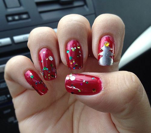 15-Simple-Christmas-Tree-Nail-Art-Designs-Ideas-Stickers-2014-7