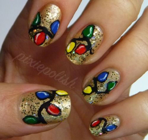 Christmas Lights Nails Pinterest: Christmas Lights Nail Art Designs, Ideas & Stickers 2014