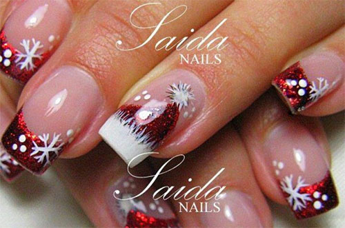 Cute Christmas Hat Nail Art Designs Ideas Trends Stickers 2014