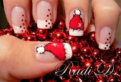 Cute-Christmas-Hat-Nail-Art-Designs-Ideas-Trends-Stickers-2014-Xmas-Nails-3