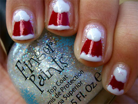 Cute-Christmas-Hat-Nail-Art-Designs-Ideas-Trends-Stickers-2014-Xmas-Nails-5