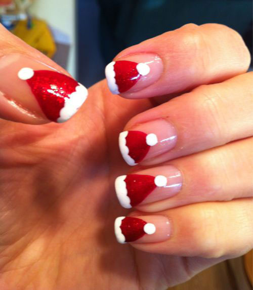 Cute-Christmas-Hat-Nail-Art-Designs-Ideas-Trends-Stickers-2014-Xmas-Nails-7