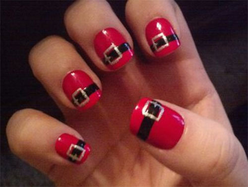 Santa Belt Nail Art Designs - Santa Belt Nail Art Designs, Ideas & Stickers 2014 Xmas Nails