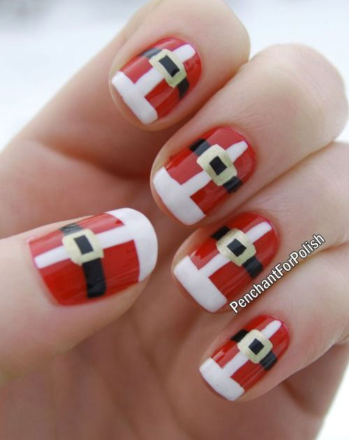 Santa Belt Nail Art Designs Ideas Stickers 2014 Xmas Nails