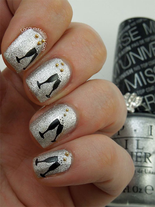 15-Happy-New-Year-Eve-Nail-Art-Designs- - 15 Happy New Year Eve Nail Art Designs, Ideas, Trends & Stickers
