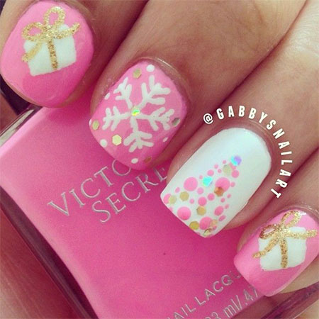 15 Pink amp; Red Snowflake Nail Art Designs, Ideas, Trends amp; Stickers