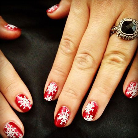 15-Pink-Red-Snowflake-Nail Art-Designs-Ideas-Trends-Stickers-2015-15