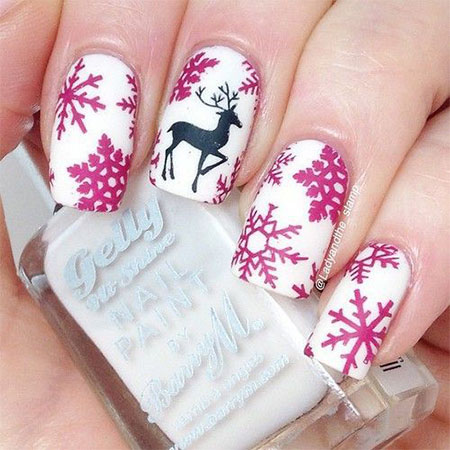 15-Pink-Red-Snowflake-Nail Art-Designs-Ideas-Trends-Stickers-2015-2