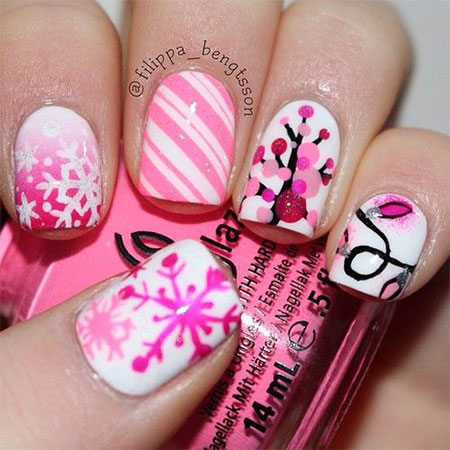 15-Pink-Red-Snowflake-Nail Art-Designs-Ideas-Trends-Stickers-2015-6