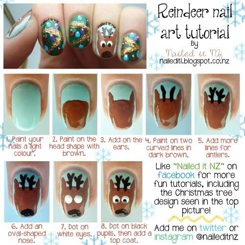 easy step by step christmas nail art tutorials for