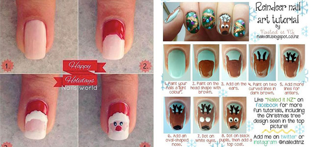 Easy Step By Christmas Nail Art Tutorials For Beginners Learners 2014