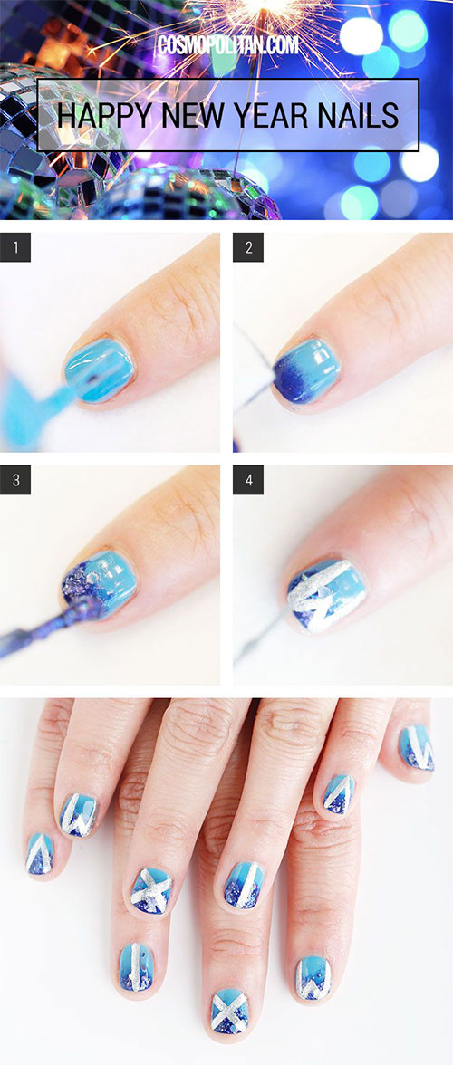 Easy Step By Step Happy New Year Eve 2014/ 2015 Nail Art Tutorials ...