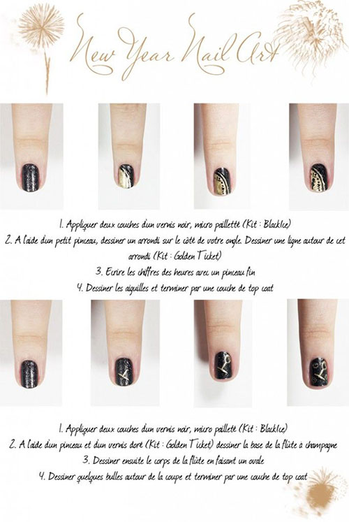 Easy step by step happy new year eve 2014 2015 nail art tutorials new year nail art easy step by step happy new year eve prinsesfo Images
