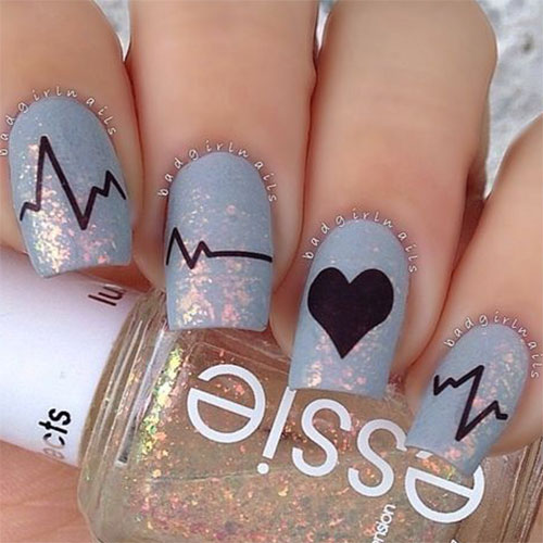 Heart Nail Art: 15 Valentine's Day Love Heart Beat Nail Art Designs, Ideas