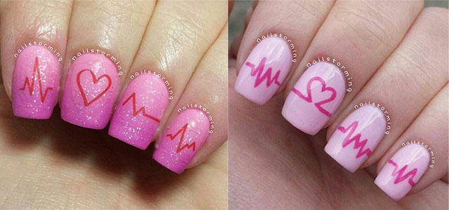 15 Valentineu0027s Day Love Heart Beat Nail Art Designs, Ideas, Trends U0026  Stickers 2015 | Fabulous Nail Art Designs