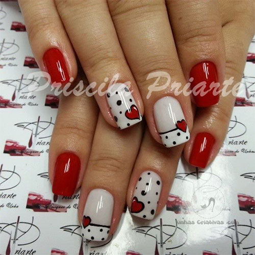 18-Simple-Red-Heart-Nail-Art-Designs-Ideas- - 18 Simple Valentine's Day Red Heart Nail Art Designs, Ideas, Trends