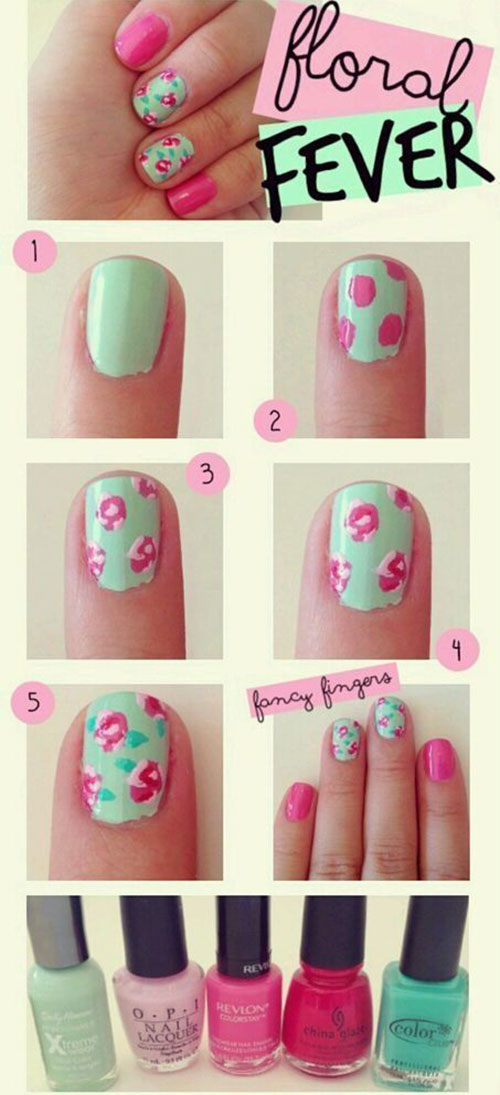 Easy step by step spring nail art tutorials for beginners easy step by step spring nail art tutorials prinsesfo Image collections