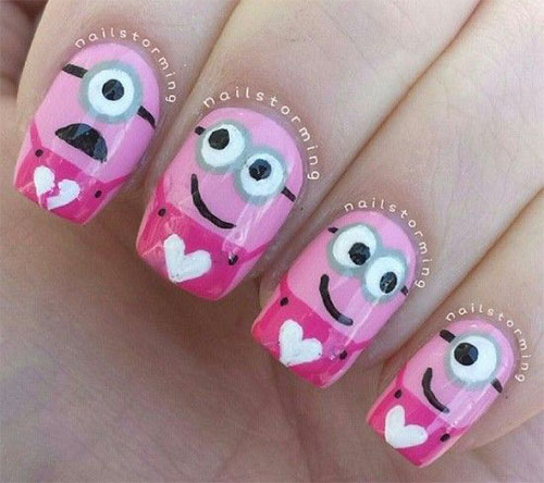 Cute-Pink-Minion-Nail-Art-Designs-Ideas-Trends-Stickers-2015-1