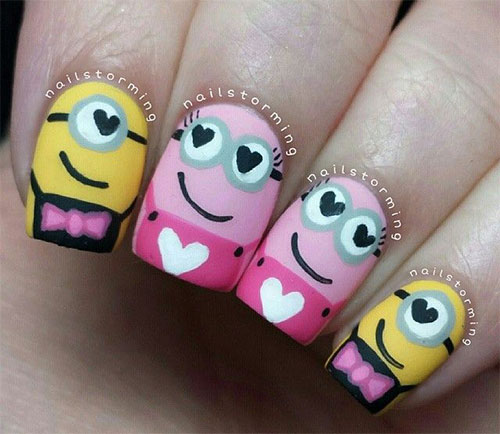 cute pink minion nail art designs ideas trends