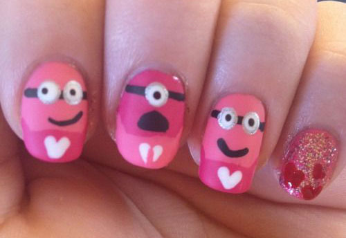 Cute-Pink-Minion-Nail-Art-Designs-Ideas-Trends-Stickers-2015-5