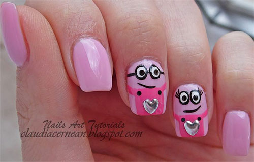 Cute-Pink-Minion-Nail-Art-Designs-Ideas-Trends-Stickers-2015-6