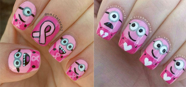 Cute-Pink-Minion-Nail-Art-Designs-Ideas-Trends-Stickers-2015