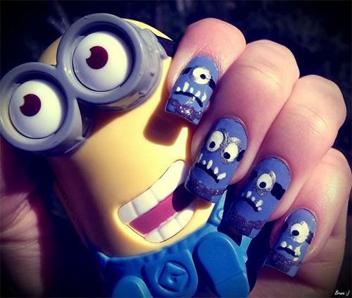 Purple-Evil-Minion-Nail-Art-Designs-Ideas-Trends-Stickers-2015-1