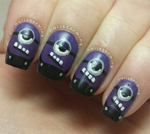 Purple-Evil-Minion-Nail-Art-Designs-Ideas-Trends-Stickers-2015-2