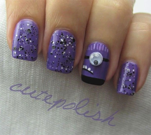 Purple-Evil-Minion-Nail-Art-Designs-Ideas-Trends-Stickers-2015-3