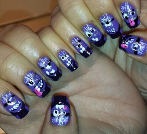 Purple-Evil-Minion-Nail-Art-Designs-Ideas-Trends-Stickers-2015-6