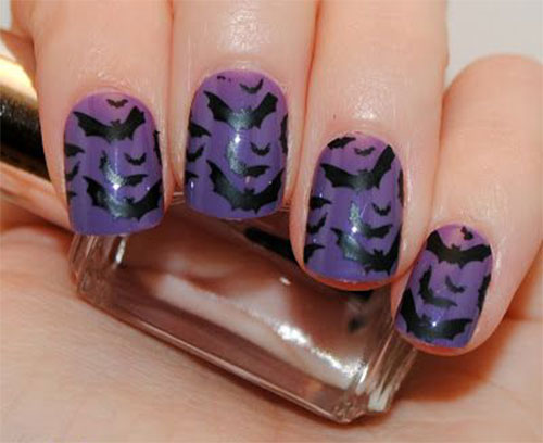 12-Halloween-Bat-Nail-Art-Designs-Ideas-Stickers- - 12+ Halloween Bat Nail Art Designs, Ideas & Stickers 2015 Fabulous