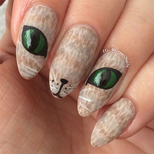 15-Cute-Halloween-Themed-Cat-Nail-Art-Designs- - 15+ Cute Halloween Themed Cat Nail Art Designs, Ideas, Trends