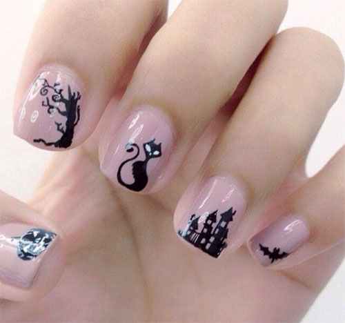 Adorable Nail Art: 15+ Cute Halloween Themed Cat Nail Art Designs, Ideas