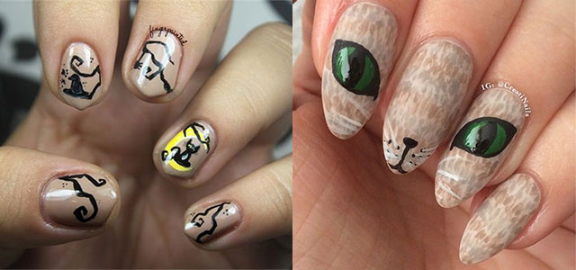 15 Cute Halloween Themed Cat Nail Art Designs Ideas Trends