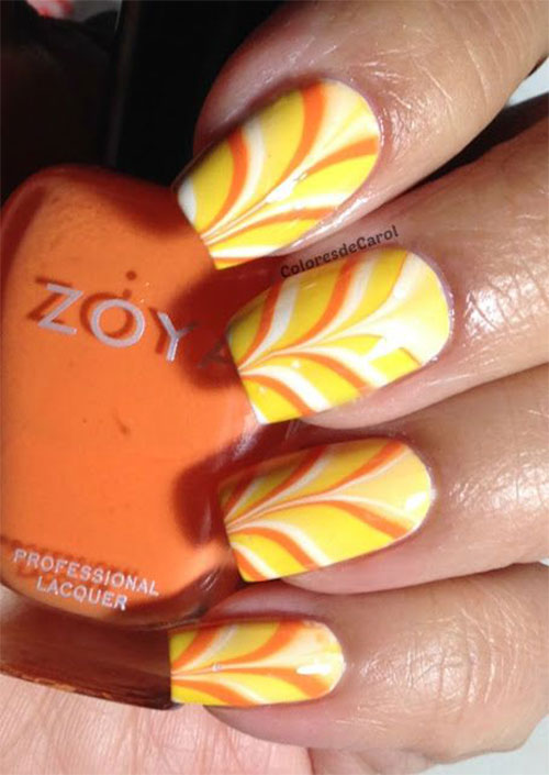 15-Halloween-Inspired-Candy-Corn-Nail-Art-Designs- - 15+ Halloween Inspired Candy Corn Nail Art Designs, Ideas & Stickers