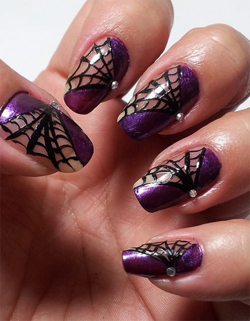 15+ Halloween Themed Spider Web Nail Art Designs, Ideas & Stickers ...