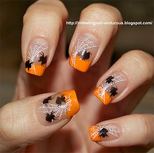 15 Halloween Themed Spider Web Nail Art Designs Ideas