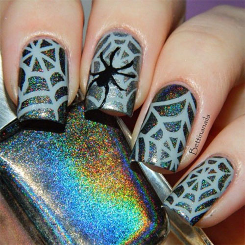 15 Halloween Themed Spider Web Nail Art Designs Ideas Stickers 2015 6