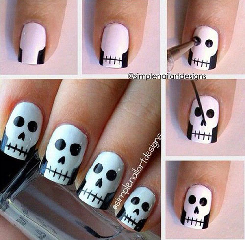 20 Easy Step By Step Halloween Nail Art Tutorials For Beginners ...