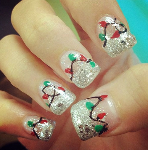Christmas Lights Nails Pinterest: 15+ Christmas Lights Nail Art Designs, Ideas & Stickers