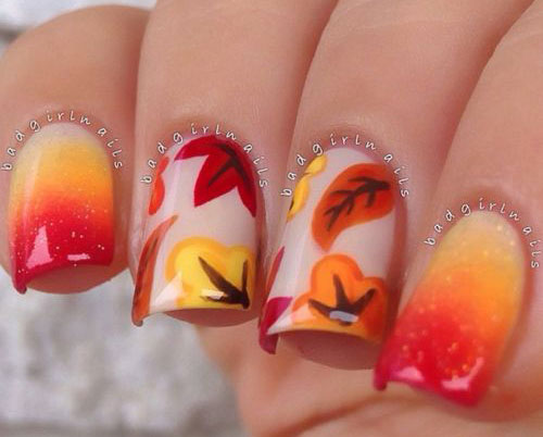 15-Cute-Easy-Fall-Autumn-Nail-Art-Designs- - 15+ Cute & Easy Fall / Autumn Nail Art Designs & Ideas 2015