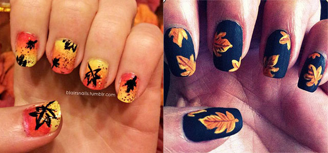 15 Cute Easy Fall Autumn Nail Art Designs Ideas 2015