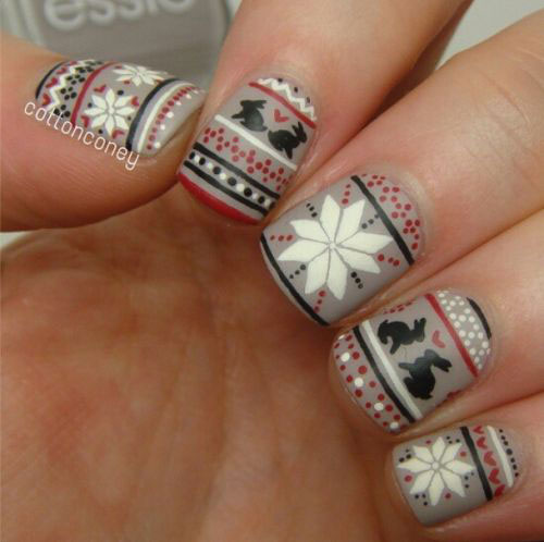 Art Designs: 15+ Ugly Christmas Sweater Nail Art Designs, Ideas