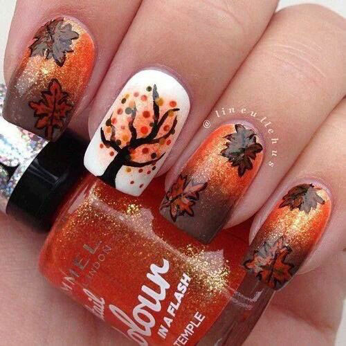 Diy Autumn Gradient Nail Art: 25+ Best Autumn Leaf Nail Art Designs, Ideas & Stickers