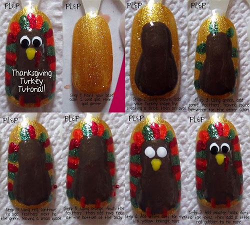 Easy-Step-By-Step-Thanksgiving-Nail-Art-Tutorials-For-Beginners-Learners-2015-3