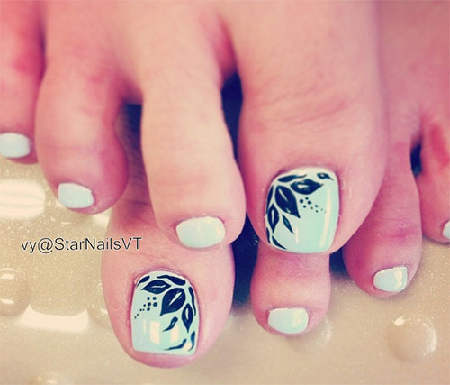 Inspiring Cool Fall Autumn Toe Nail Art Designs